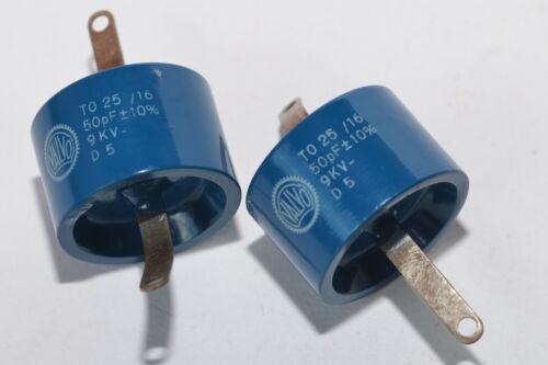 9 kV, 2x Hochspannungs-//HF Kondensator von Valvo TO 25X16 50 pF