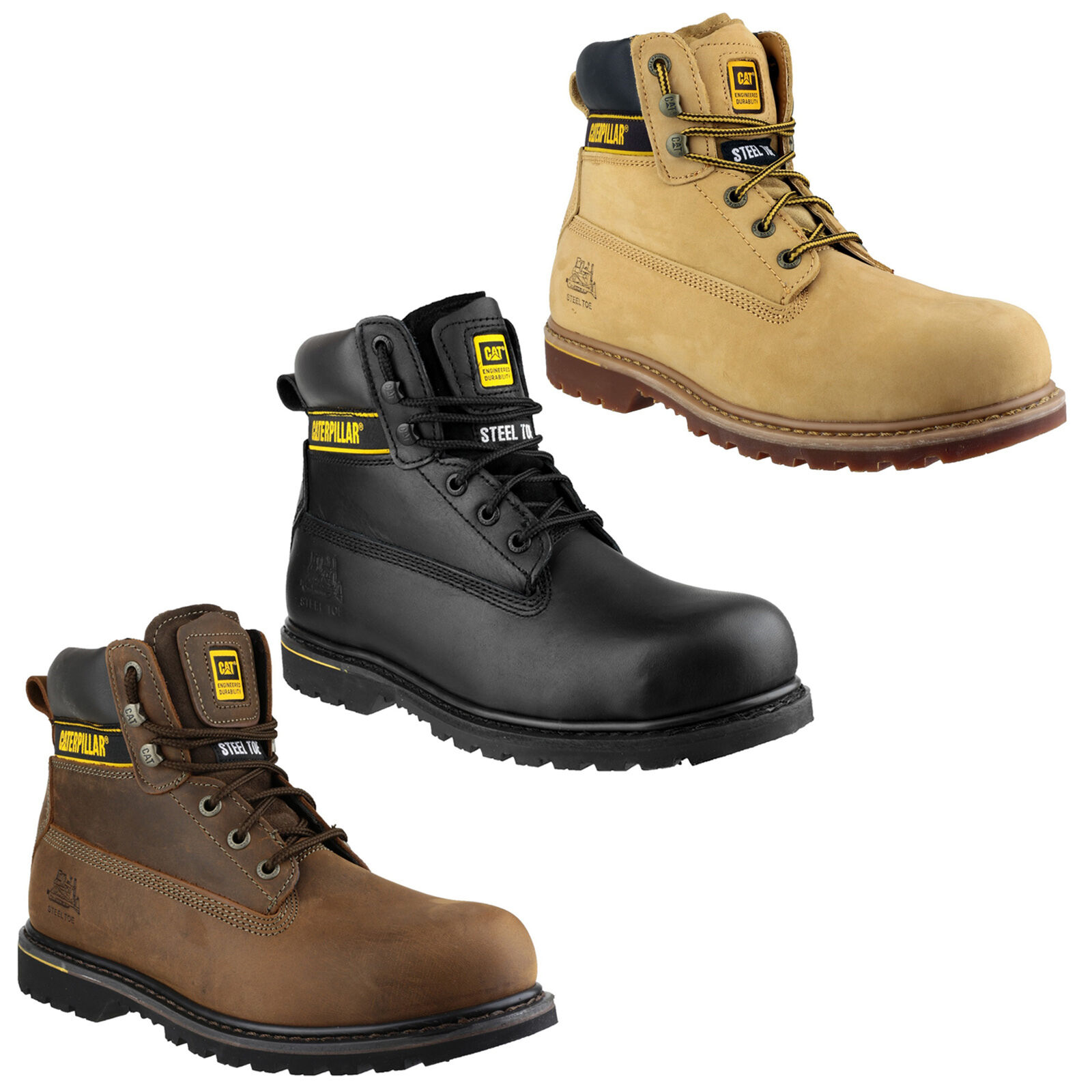 CAT Caterpillar Holton da uomo di sicurezza in acciaio Puntale Work Boot uk6-15