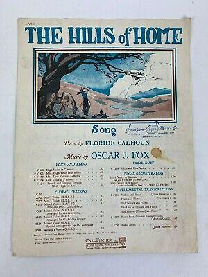 the hills of home medium-low voice g minor sheet music calhoun fox vintage  1925 | ebay  ebay