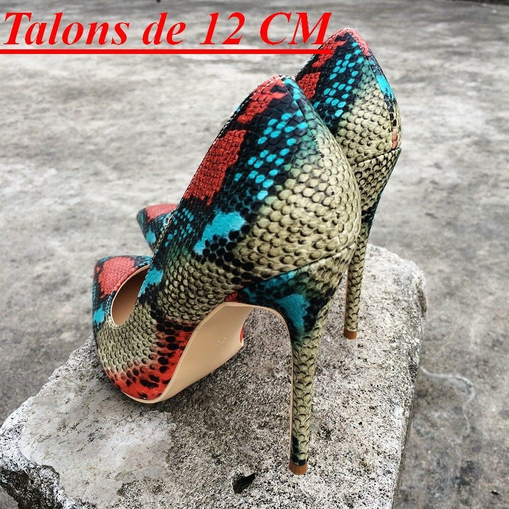 Escarpins Sexy LUXE Aspect Python  Farbeé Talons 8,10,12cm   Python 34 au 42  Neuves 0808c7