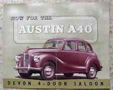 AUSTIN A40 DEVON SALOON Car Sales Brochure c1947 #411D