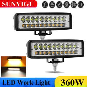 2X-6-034-INCH-360W-LED-LUCE-FARO-12V-LAMPADA-DA-LAVORO-FARETTO-AUTO-BARCA-CAMION-KLW