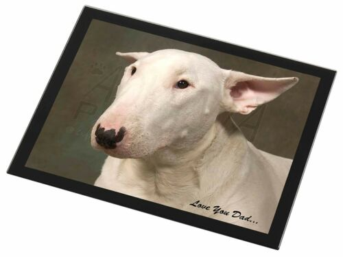 Bull Terrier Dog /'Love You Dad/' Black Rim Glass Placemat Animal Table DAD-15GP
