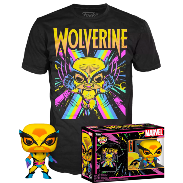 🔥NEW Target Marvel Black Light Wolverine Funko Pop & Large Tee Shirt - IN HAND!