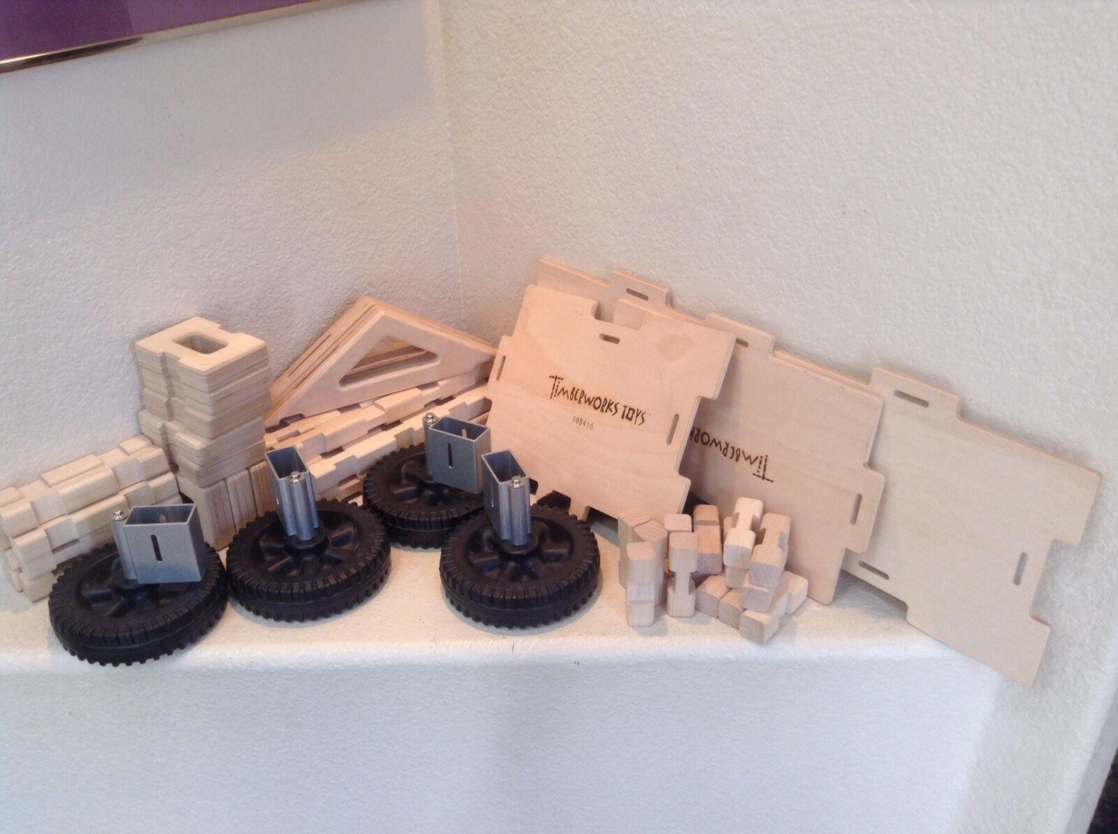 Timberworks Toys 54 pc Cottage Bridge Vehicle Wood Block Set Made in USA