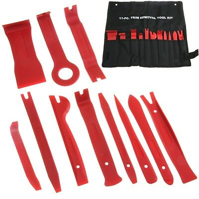 11 pc TRIM REMOVAL TOOL KIT DOOR PANEL INTERIOR WEDGE PRY CLIP HEAVY DUTY
