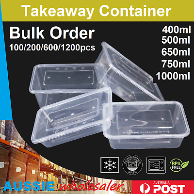 100 Microwave Safe Plastic Food Containers /& Lids 500ml