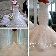 Luxury White Ivory Mermaid Bridal Dresses Pearl Crystal Custom Made Wedding Gown