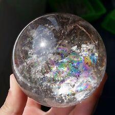 "467gRainbow! Rare Natural ""Black Tourmaline"" Quartz Crystal Sphere Ball Healing"