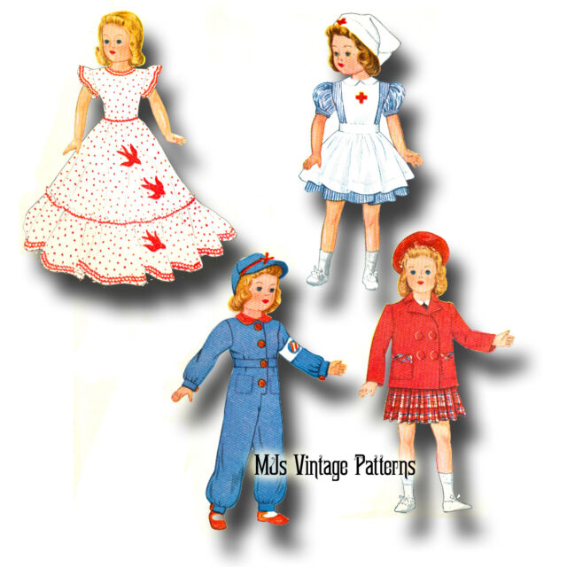 "Composition Vintage Doll Clothes Pattern ~ 13/"" 14/"" Shirley Temple Patsy"