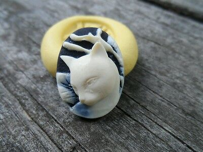 Beautiful KITTY  cameo silicone push mold mould polymer clay resin food grade