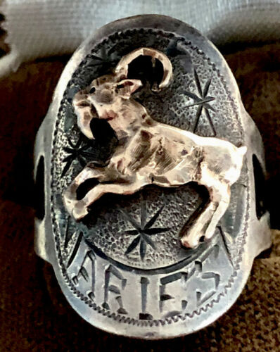 Gold And Silver Zodiac Aries Ring Size 8