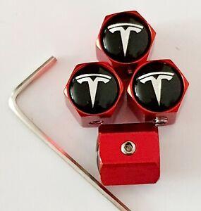 Tesla-Negro-Top-Rojo-Rueda-Valvula-Polvo-gorras-Antirrobo-Todos-Los-Modelos