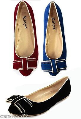 Señoras Verano Gamuza Dolly Zapatos Bombas Arco Ballet Pisos UK Size 3-8 eu36-41 Nuevo