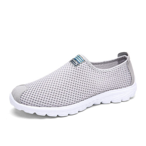 Mens Summer Breathable Tennis Shoes Walking Sneakers Lightweight Slip On Loafers