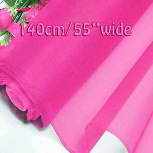 2 Yards Hot Pink Pure Silk Organza Bridal Dress Fabric 140cm Sheer Tulle Voile