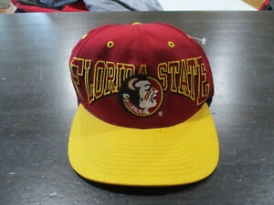 f8819a8f7c7 VINTAGE Florida State Seminoles Snap Back Hat Cap Red Yellow FSU ...