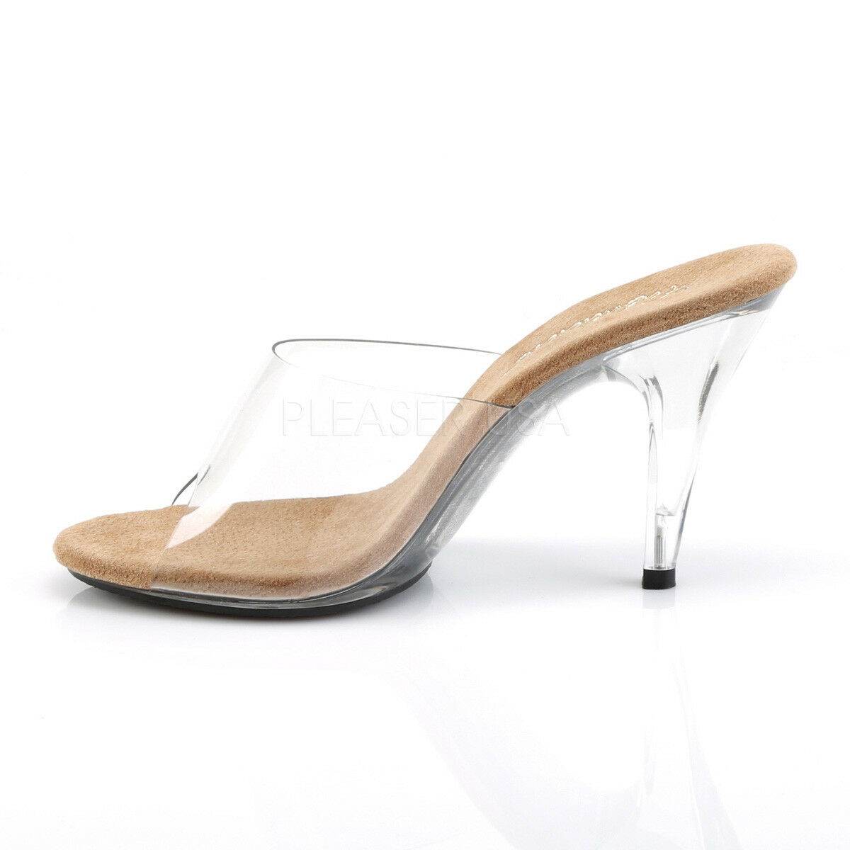 PLEASER FABULICIOUS CARESS-401 CLEAR   TAN TAN TAN COMPETITION POSING MULES SANDALS 8e8c25
