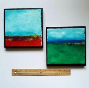 Original-Artwork-Pair-of-Acrylic-Landscape-Paintings-on-Wood-8-x-8-034-each
