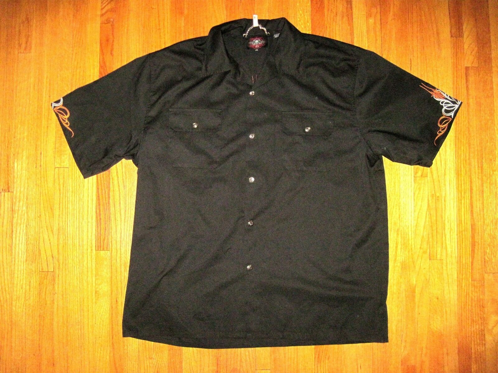 bec90490 Embroidered Motorcycle Snap Front Short Sleeve Hawaiian Lounge Shirt Sz XXL  New. T-shirt for men ...