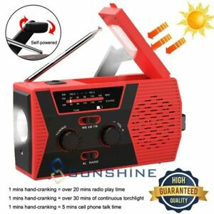 Solar Hand Crank 2000mAh Generator Emergency Charger LED Flashlight FM/AM Radio