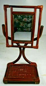 RARE Vintage Rattan Wicker French Dresser Table Top Vanity Swivel Mirror Tilting