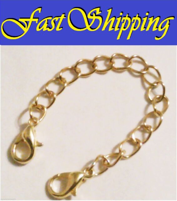 4 Gold Easy Open Double 2 Lobster Claw Clasps Necklace Bracelet Extender Chain