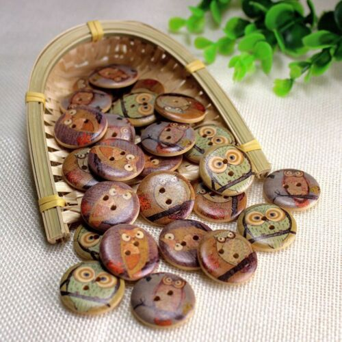 DIY Brown Round Sewing 100pcs Mix Owl Wooden Button 2 Hole Scrapbook PF