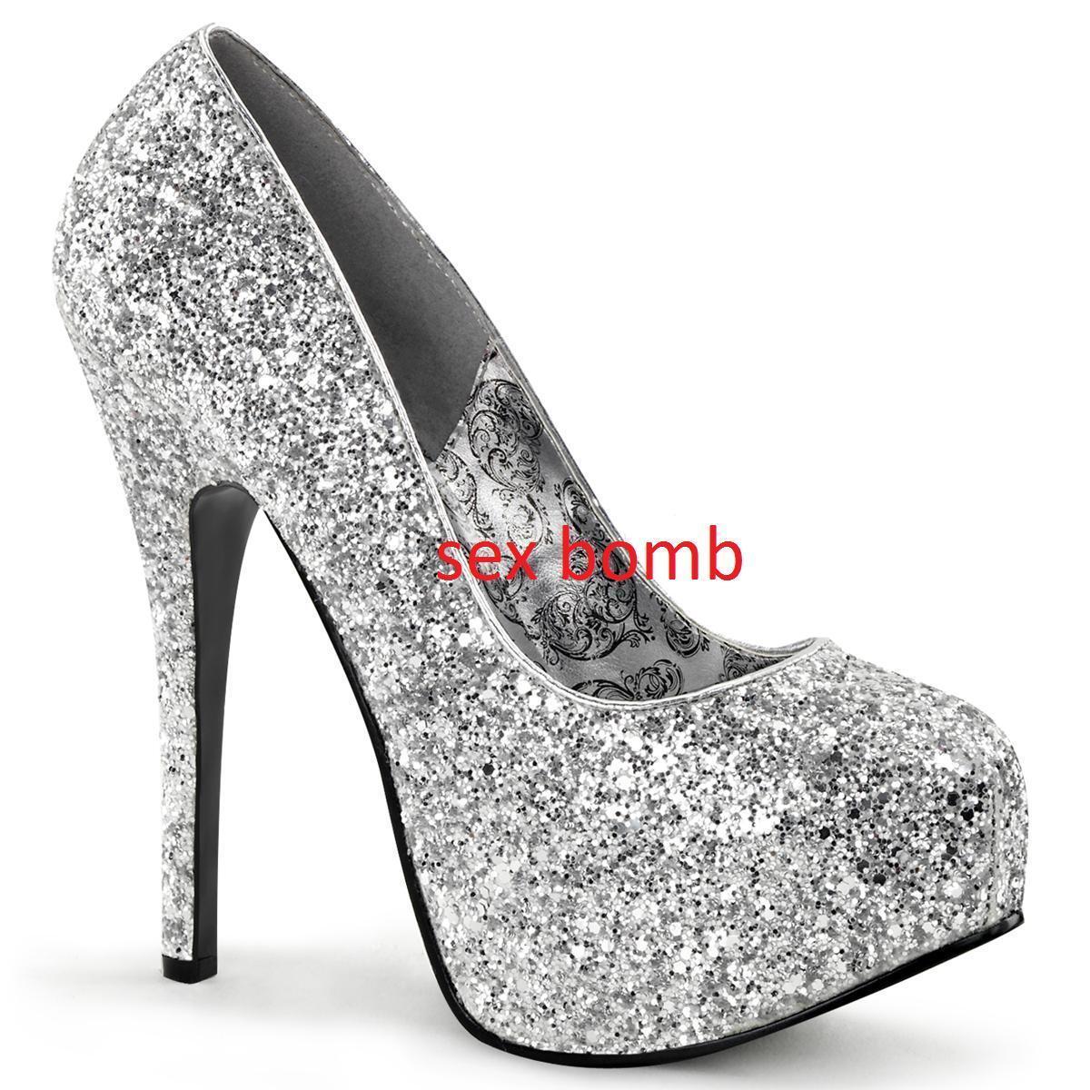 Sexiga silver Glitter -skor -plattformän Osynlig Osynlig Osynlig häl 14,5 från 36 till 42 Glamour  rabattbutik