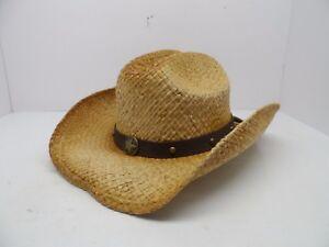 5b5fcff98e13e Scala Men s Star Concho Straw Cowboy Hat Natural  One Size Fits Most ...