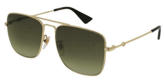3dca8256858 Gucci Gg0108s 006 Gold Metal Square Sunglasses Brown Gradient Polarized  Lens for sale online