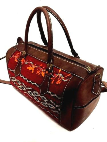 Morocco-100-Leather-Duffle-Bag-Handsewn-Kilim-Wool-Rugged-bag-Weekend-Luggage