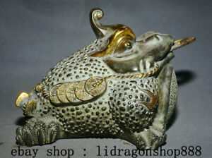 "10.4"" Ancien Chine Bronze Doré Feng Shui Animal Crapaud Spittor Richesse Statue"