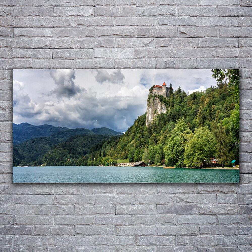 Wandbilder Glasbilder Druck auf Glas 120x60 Gebirge Wald See Natur