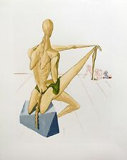 """Salvador Dali DIVINE COMEDY INFERNO #5 """"MINOS"""" Color Woodcut Woodblock"""