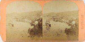 Francia Villefranche Il Port, Foto Stereo Vintage Albumina Ca 1870