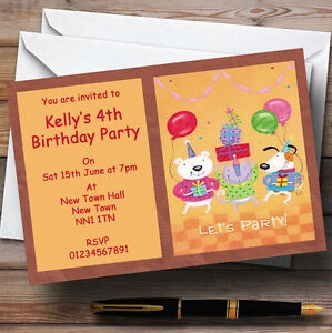 dog cat bear cute children s personalised party invitations ebay