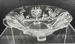 Antique-Heisey-Footed-Handled-Open-Jelly-Jam-Dish-Orchid-Pattern