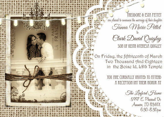 50 Burlap and Lace Rustic mariage Invitations 5x7 - with envelopes