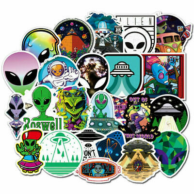 50PCS ET UFO Graffiti Skateboard Stickers Bomb For Laptop Luggage Car Decals