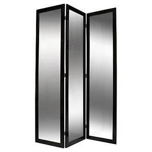 Screen Gems 69 X 50 Mirror 3 Panel Room Divider Black Lacquer eBay