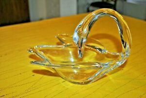 Grand Cygne Vide Poche Coupe En Cristal De Vannes France - Crystal Swan