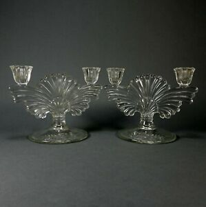 Pair of 2 Vintage Pressed Clear Glass Double Candle Stick Holder