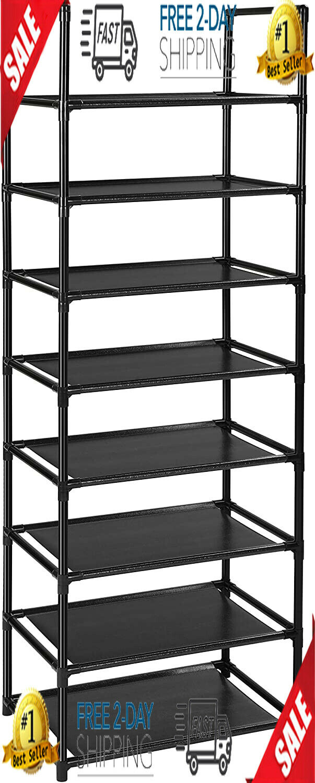 Narrow Shoe Rack 10 Pair Plastic Tall Storage 20-25Tier Closet Organizer Shelf N