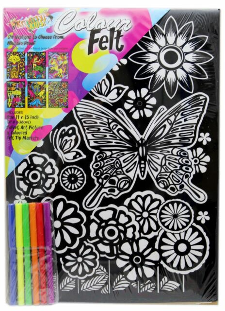 Kids Colourful Velvet Felt Art Picture Colouring Set for Children ...
