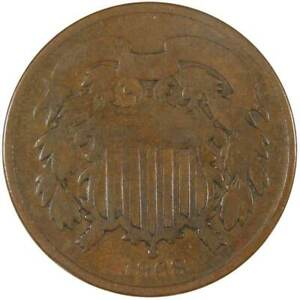 1868 Two Cent Piece Bronze 2c US Type Coin Collectible