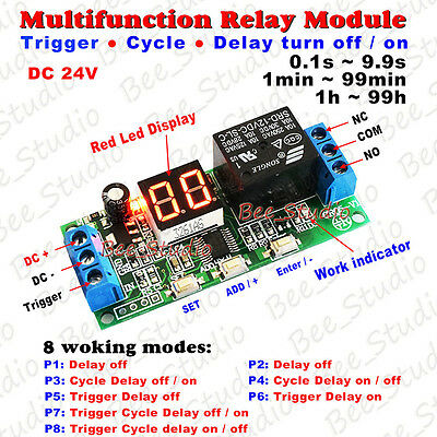 LED Display Infinite Cycle Delay Timer Switch Turn ON/OFF Relay Module DC 12/24V