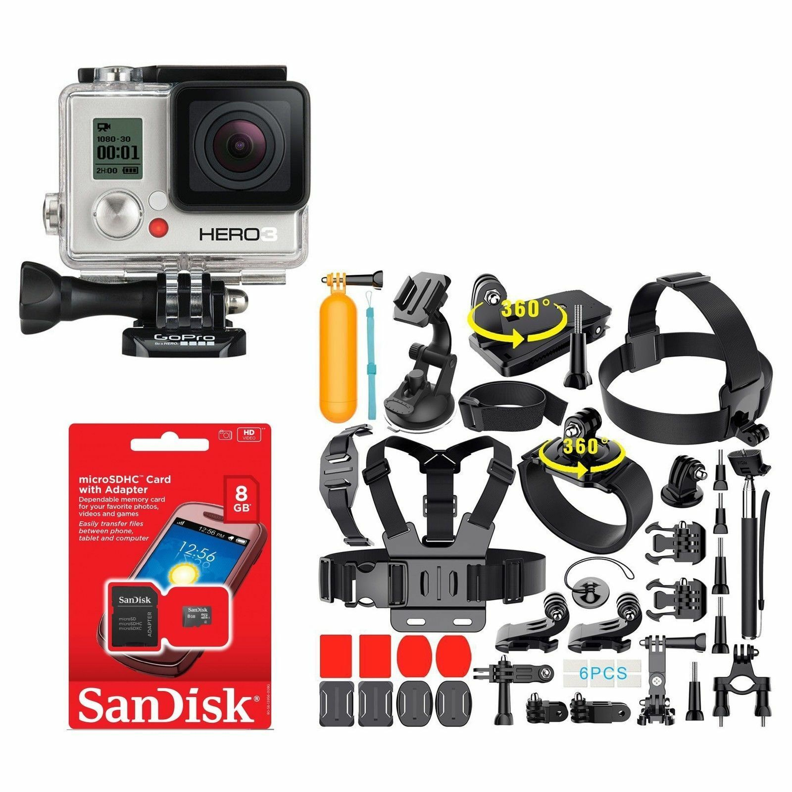 GoPro HERO3 WHITE Edition Action Camera CHDHE-301 With lots of 35+ Accessories! Featured