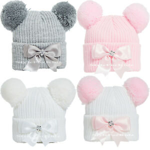 1f659cb47a2 Image is loading BABY-GIRLS-KNITTED-POM-POM-HATS-NEWBORN-0-