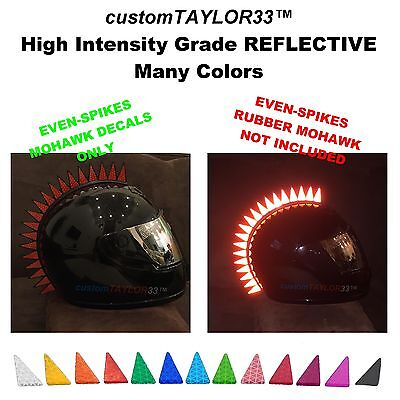 Reflective DECALS For Even-Spikes Rubber Helmet Mohawks Dirtbike Motorcycle Bike